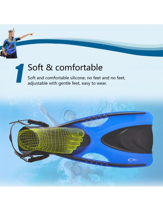 Adult Swimming Fins With Adjustable Strap For Snorkeling Diving Scuba Open Heel Flippers