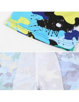 Children Swimming Trunks Caps Camo Swimsuit Printed Colorful Shorts Briefs Hat For Kids Swim Pool Beach Bathing Swimwear