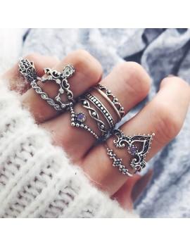 10 Pcs/Set Women Bohemian Gemstone Fatima Hand Crown Hollow Caved Geometric Diamond Joint Knuckle Rings