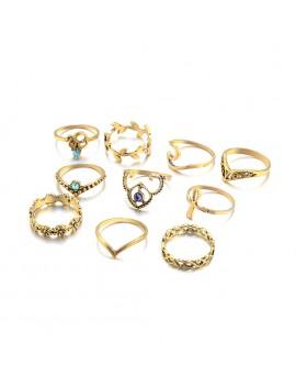 10 Pcs/Set Women Bohemian Gemstone Leave Caved Flower Hollow Geometric Diamond Joint Knuckle Rings