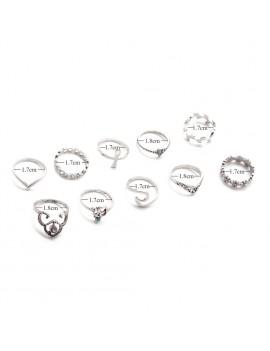 10 Pcs/Set Retro Crystal Silver Rhinestone Hollow Flower Leaf Cross Midi Rings Boho Punk Summer Beach Jewelry