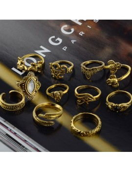 11 Pcs/Set Women Bohemian Vintage Silver Gold Geometry Gemstone Open Finger Rings Hollow Carved Punk Knuckle Ring Jewelry Gifts