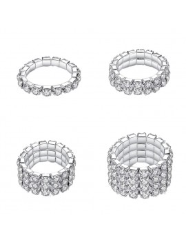 1/2/3/4 Row Silver Plated Crystal Rhinestones Elastic Adjustable Rings Women's Fashion Jewelry Gift