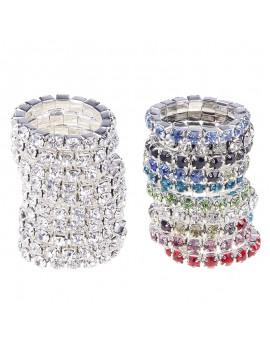 10pcs Fashion Elastic Jewelry Women Silver Colorful Crystal Rhinestone Rings Set