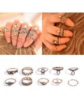 10Pcs/Set Vintage Gold Silver Knuckle Carved Crystal Gem Elephant Moon Midi Ring