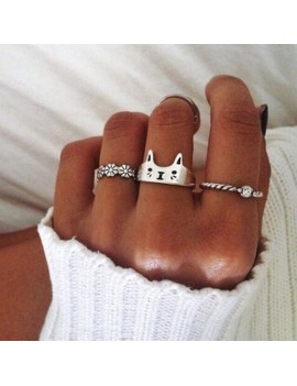 1PC Lovely Cat Open Finger Ring Sterling 925 Silver Plated Chic Women Rings Sweet Jewelry Gifts for Lovers