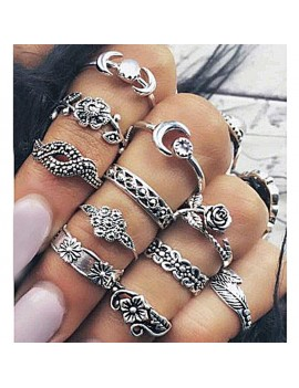 11 Pcs/Set Bohemian Knuckle Ring Carved Diamond Moon Flower Midi Ring Jewelry