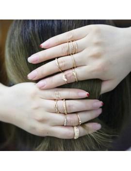 12Pcs/Set Boho Vintage Gold Finger Ring Crystal Rhinestones Midi Knuckle Rings Women Jewelry