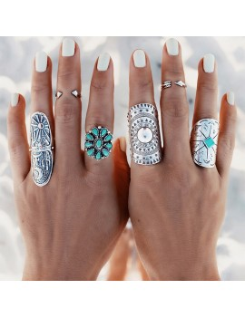 1 x Silver Punk Vintage Ring Womens Retro Geometry Midi Rings Boho Style Jewelry