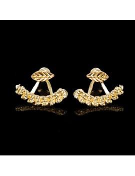 1 Pair Women Cute Gold Silver Leaf Ear Stud Front & Back Earrings Jewelry Gift