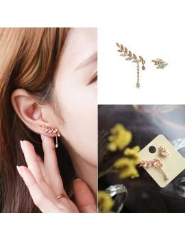 1 Pair New Women Asymmetry Leaves Crystal Rhinestone Ear Studs Drop Earrings