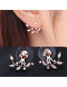 1 Pair Fashion Vintage Rhinestone Leaves Ear Studs Screw Back Women  Earrings