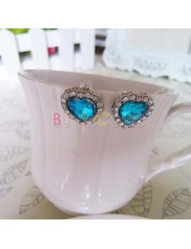 1 Pair Fashion Titanic Heart of Ocean Crystal Gem Heart Earring