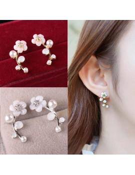 1 Pair Fashion Elegant Crystal Rhinestone Leave Pearl Ear Stud Earrings Women's Lady Fashion Jewelry Gift