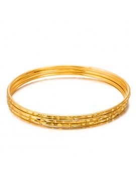 1 Pc Women's Luxury Dubai Gold Bangle 2mm Thin Bracelet Fashion Caved Jewelry GIft