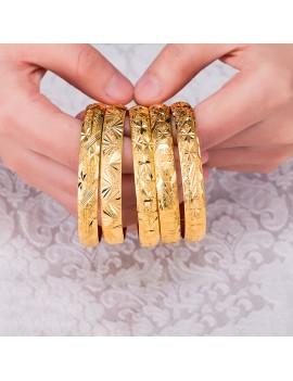 1 Pc Openable Luxury Dubai Gold Bangles Women's Caved Bracelet Fashion Jewelry Gift