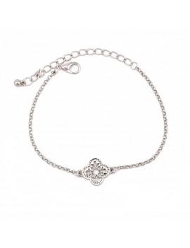 3 Pcs/Set Leaf Crystal Four-leaved Clover Adjustable Open Bangle Bracelets Women's Fashion Jewelry Gift