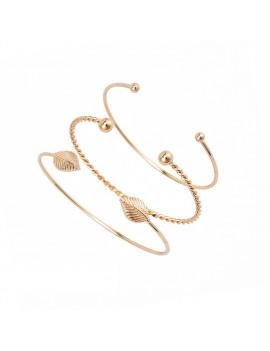 3 Pcs/Set Leaf Simple Adjustable Open Bangle Gold Bracelets Women's Fashion Jewelry Gift