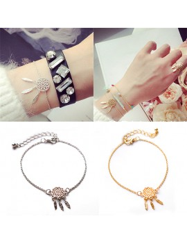 2Pcs New  Leaf Feather Tassel Chain Gold & Silver Dream Catcher Bracelet Women Jewelry