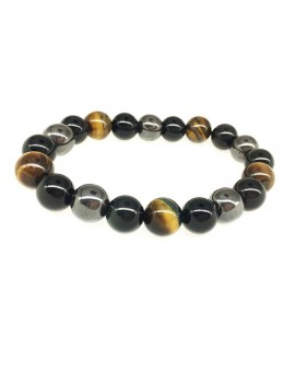 10mm Natural Tiger Eye Stone Bracelet Obsidian Magnetic Stone Mixed Energy Stone Bracelet Handmade Jewelry Gift For Men Women Couples