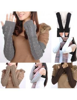 Women Knitted Crochet Braided Arm Warmers Hand Knitted Half Glove Grey Black Winter Warmer