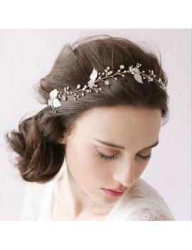 Women Bride Party Wedding Leaves Shiny Hair Headband Hair Accessories