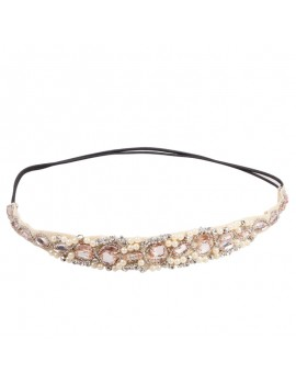 Women Crystal Beads Lace Hairband Hair Accessories Wedding Hair Jewelry