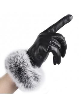 Women Black Leather Autumn Winter Warm Rabbit Fur Mittens Hottest Lady Gloves