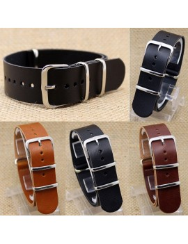 18mm/20mm/22mm Leather Wrist Watch Band Strap Mens Stainless Steel Pin Buckle