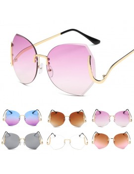 Fashion Elegant Oversized Rimless Gradient Sunglasses Women Luxury Diamond Cut Lens Big Optics Glasses Female Eyeglasses