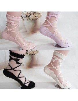 Bowknot Sheer Mesh Bow Knit Frill Trim Transparent Ankle Socks Lady Girl Gift