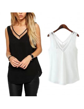 Fashion Women Sleeveless V Neck Chiffon Blouse Basic Style T Shirt Tops Slim Casual