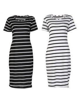 Casual Women Short Sleeve Stripe Long Midi Evening Party Beach Dresses
