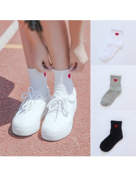 Cute Women Casual Cotton Socks Soft Breathable Ankle-High Heart Pattern