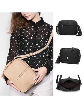 Fashion Women Shoulder Bag Rhomboids Embossing Leisure Female Bags Tassel Black Bag