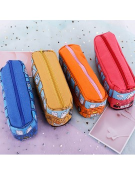 1pcs Cute Cartoon Pen Pencil Case Makeup Cosmetics Bag Box Bus Canvas Storage Large Zipper School Bag Kids Student