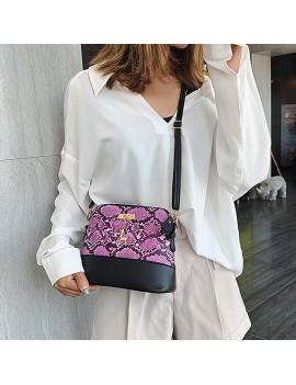 Fashion Joint-color Elegant Panelled PU Leather Shoulder Bag with Deer Toy Women Crossbody Handbag