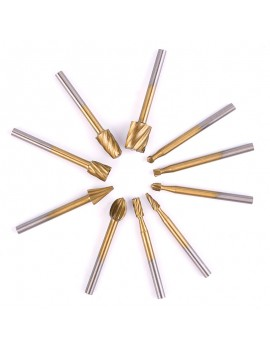 10Pcs HSS Router Bit Burr Set For Engraving Wood Dremel Rotary Tool Set
