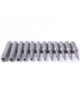 12Pcs 50mm 1/4 inch Hex Torx Head Screw Driver Bits Magnetic Set T5-T40 Tool