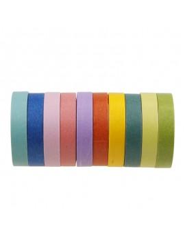 10x Washi Tape Set Masking Scrapbook Decor Paper Adhesive Sticker DIY Colors