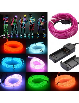 1/3/5M Flexible LED Light Glow EL Wire String Strip Rope Tube Car Christmas Party Decor