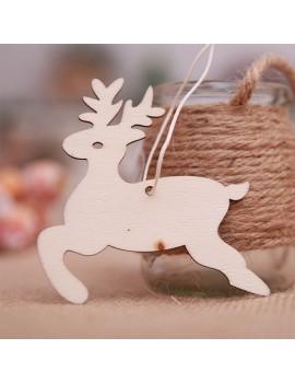 10Pcs Christmas Tree Wood Chip Pendant Xmas Hanging Ornament Hoem Decor