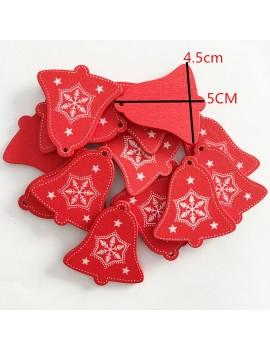10pcs Snowflakes Pattern Christmas Hanging Pendant Heart Star Tree Shape Wood Decor