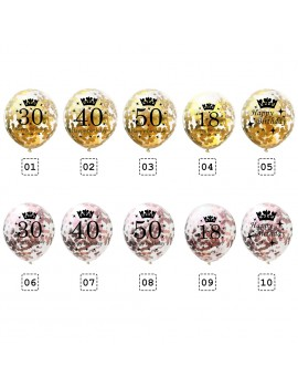 12'' Crown Number Printed Confetti Latex Balloons Birthday Party Supplies Decor