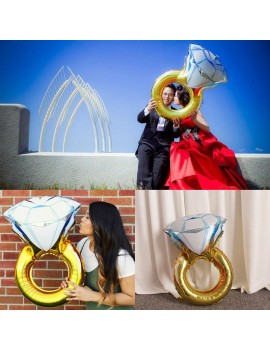 30inch Balloon Diamond Ring Wedding Aluminum Foil Balloons Inflatable Gift Birthday Baloon Party Decoration