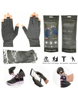 1 Pair Medical Anti Arthritis Compression Therapy Gloves Hand Support Pain Relief with Glue